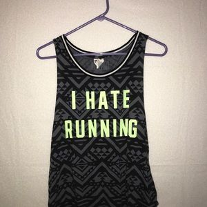 """MOVING! MUST GO! VS PINK tank top """"i hate running"""""""